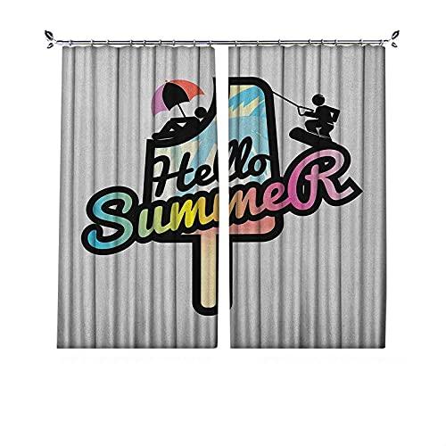Cortinas plisadas con aislamiento térmico Hola Plisadas, frase Hello Summer Phrase on Popsicle con sol y esquí acuático, ilustración de hombres, para travesaños y rieles, 52 x 72 pulgadas, multicolor