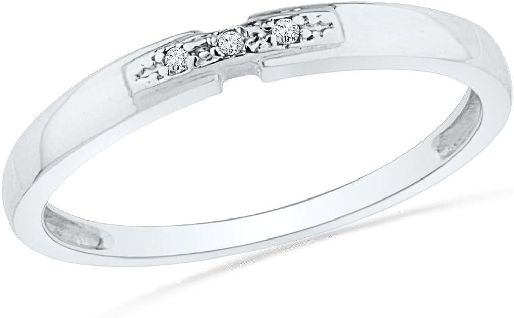 DGOLD 10KT White Award-winning store Gold Round Diamond Stone Ring Three Bargain Fashion 0.