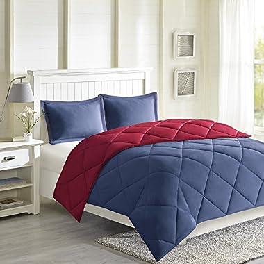Madison Park Essentials Larkspur Comforter Set, Full/Queen, Red/Navy