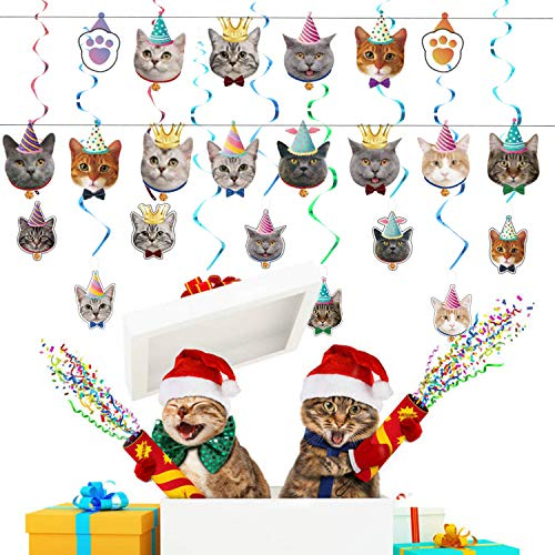 OBSGUMU 47 Pieces Cat Party Decorations,14 Packs Cat Birthday Banner Birthday Cat Garland,24 Packs Cat Cupcake Topper and 9 Packs Cat Face Hanging Swirl Decoration for Kitties Party Bunting Decoration