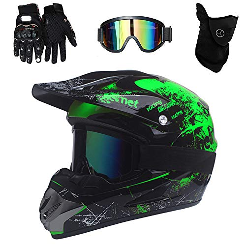 PKFG Mopedhelm Motocross Helm Herren, Serie HM-718 Motorradhelm Set Damen Fullface Motorrad DH Cross Offroad Enduro Mountainbike Helme mit Visier Brille Handschuhe Maske,Black Green S
