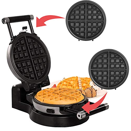 Health and Home Upgrade Automatic 360 Rotating Belgian Waffle Maker with Removable Plates, Black + Silver
