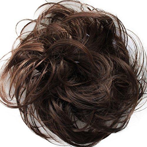 PRETTYSHOP Haarteil Haargummi Hochsteckfrisuren unordentlicher Dutt leicht gewell. Farbe: braun mix G15B