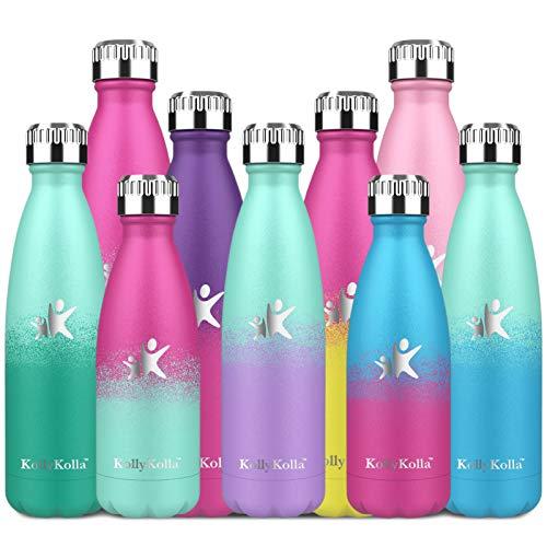 KollyKolla Botella de Agua Acero Inoxidable, Termo Sin BPA Ecológica, Botella Termica Reutilizable Frascos Térmicos para Niños & Adultos, Deporte, Oficina, (750ml Macaron Verde + Púrpura Claro)