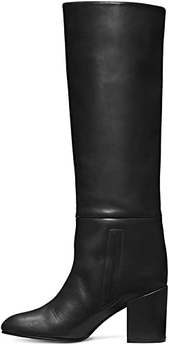 Bottes Longues Femme, Tête Ronde Grande Taille avec Pédale Et Bottes (Noires Et Brunes),noir,41