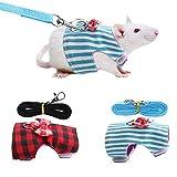 Petyoung Lot de 2 Harnais Et Laisse pour Petits Animaux pour Cochon Dinde Coffre en Corde de Traction pour Hamster avec Grille Rouge Noud Papillon + Rayures Bleues