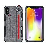iPhone X Case,HuiFlying Premium PU Leather Shockproof Wallet Case [Credit Card ID Holders] Adjustable Wrist Strap Hand Strap Stand TPU Back Cover for Apple iPhone X/iPhone 10 (Gray)