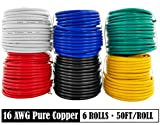 GS Power 16 AWG (American Wire Gauge) OFC Pure Copper Automotive Primary Wire 6 Roll Color Combo (50 Feet Roll, 300 FT total) for 12V Car Audio Video Trailer Harness Wiring (Also in 14 & 18 GA Combo)