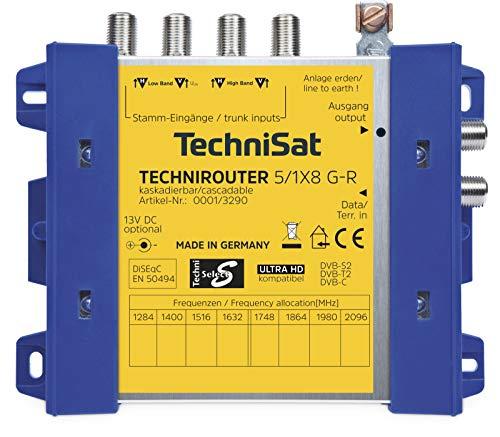 TechniSat TECHNIROUTER 5/1 x 8 G-R – kaskadierbare digitale Einkabellösung für 8 Teilnehmer (Grundeinheit, 8 Signale über ein Kabel, Unicable, Rückkanaltauglich)