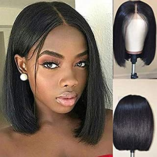 10inch Short Human Hair Bob Wig Straight Peruvian Virgin Hair Lace Front Wigs Blunt Bob Cut Wigs Thick Ends with Baby Hair (10inch)