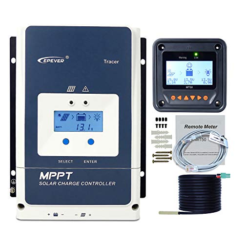 EPEVER MPPT Charge Controller 50A Kit, 48/36/24/12V Auto Max PV 150V Solar Panel Charge Controller Negative Ground Solar Regulator for Sealed Gel Flooded AGM Lithium Types (MPPT 50A Kit)
