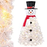 Decoway Christmas Tree Pre-lit Snowman-Shaped Artificial White Christmas Tree with LED Lights