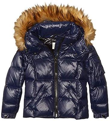 S13 Girls' Toddler Faux Fur Mogul Down Puffer, Marine, 6