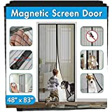 Magnetic Screen Door IKSTAR Double Instant Mesh Curtain with Full Frame Magic Tape Mesh Door Cover for Front Door and Home Outside Kids/Pets Walk Through Easily Fit Door Size Up to 46'x82' Max …