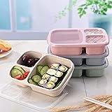 Fiambrera de paja de trigo con 3 rejillas para microondas, caja de almacenamiento portátil de alimentos, color rosa