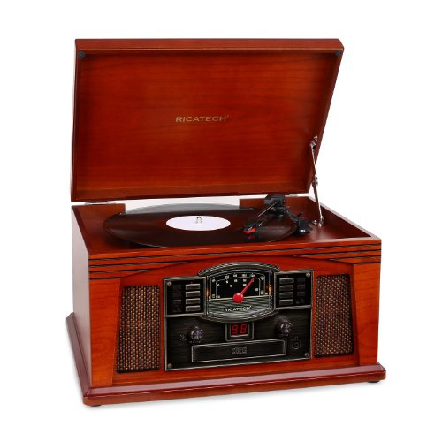 Ricatech RMC200 5-in-1 Music Center Plattenspieler (CD-Player, Cassette, Radio, Audio) braun