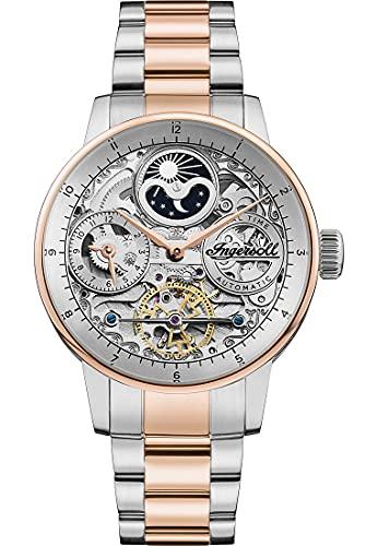 Ingersoll 1892 El Jazz reloj automático para hombre con esfera de plata y pulsera de acero inoxidable de dos tonosI07706