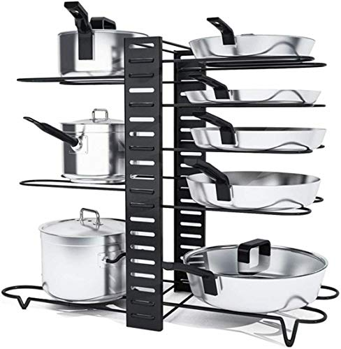 HYGRAD 8 Tier Adjustable Cabinet Organiser Pots & Pans Dishes Organiser Stand For Neat And Tidy Cupboard Organising