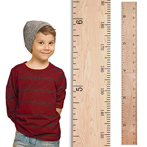 Growth Chart Art | Wooden Growth Chart Ruler for Boys + Girls | Growth Chart Ruler Kids Height Chart | Natural Schoolhouse Ruler with Inches/Centimeters