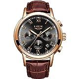 LIGE Men Watches Business Fashion Leather Wristwatch Quartz Analog Waterproof Watch Gents Luxury Brand LIGE Watch Sport Chronograph Brown Dress Wristwatch Men