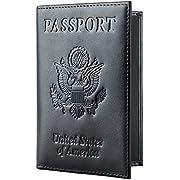 Travelambo RFID Blocking Genuine Leather Passport Holder Wallet Cover