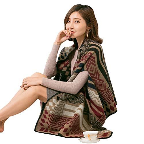 Macabolo Omkeerbare Warm Fleece Sjaal Cape Cashmere Vest Winter Deken voor Vrouwen