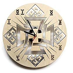 ShareArt Ethiopian Cross Time Symbol Silent Wood Wall Clock - Original Home Office Living Room Bedroom Kitchen Decor - Best Birthday Gift for Friends Men Woman - Unique Wall Art Design - Size 12 Inch