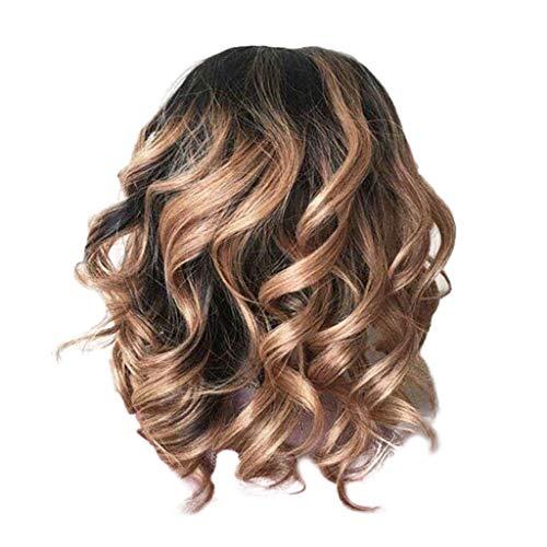 CIELLTE Perruque Femme Longue Bouclée Brésilien Perruque Marron Pleine Perruque Postiche Fibre Haute Température Cheveux Artificiels