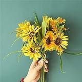 WWWL Decoración de otoño, 1 Manojo decoración de Girasol Gran Cabeza Girasoles Seda Flores Artificiales Ramo for casa Boda Fiesta Decorativo Fake Plantas (Color : Yellow)