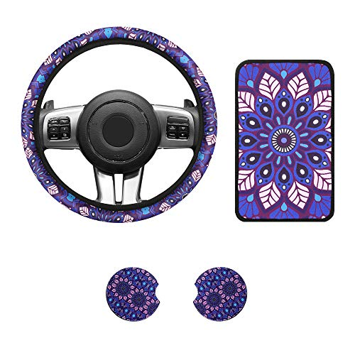 4 Pieces Purple Mandala Lotus Tsumbay Car Accessories Set, Includes Vehicle Center Console Armrest Cover Pad, 2 Set of 2.75 Inch Car Coasters with Universal Steering Wheel Cover for Women Girls