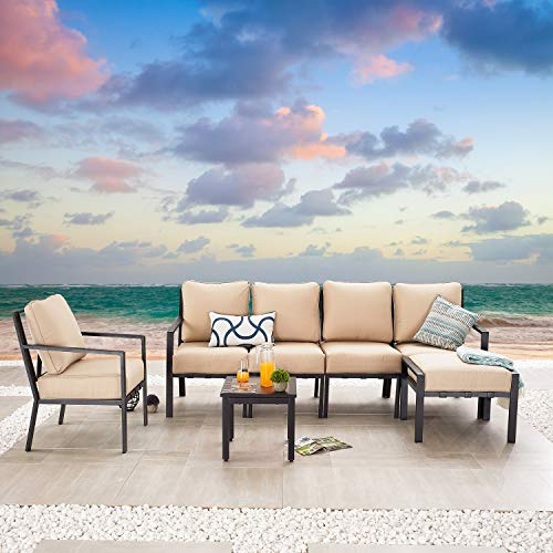 Festival Depot 7-Pieces Patio Outdoor Furniture Conversation Sets Sectional Sofa, All-Weather Black Slatted Back Armchairs with Coffee Side Table and Thick Soft Removable Couch Cushions (Beige)