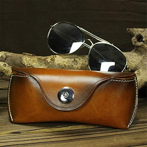 Funda de almacenamiento para gafas, unisex, de piel, portátil, ligera, protectora, diseño aerodinámico, se adapta a la mayoría de gafas de sol y gafas de sol de tamaño estándar unisex