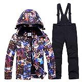 LSHEL, tuta da sci per bambina, giacca e pantaloni da sci, impermeabile, antivento, per ragazzi Top + pantaloni neri. 116 cm (S)