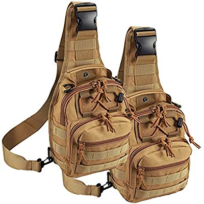 Tactical Shoulder Bag,1000D Outdoor Military Molle Sling Backpack Sport Chest Pack Daypack Bags for Camping, Hiking, Trekking, Rover Sling (2 Pack Tan)
