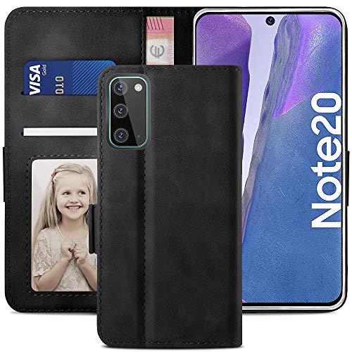 YATWIN Handyhülle Samsung Galaxy Note 20 Hülle, Klapphülle Samsung Note 20 Premium Leder Brieftasche Schutzhülle [Kartenfach] [Magnet] [Stand] Handytasche Hülle für Samsung Note 20 5G, Schwarz