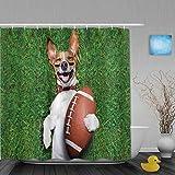 MTevocon Duschvorhang,Sport-Fußball-Hund, der einen Rugby-Ball hält und lautes lustiges Comic-Witz-Bild auslacht,Bad Vorhang Waschbar Bad Vorhang Polyester Stoff mit 12 Kunststoffhaken 180x180cm