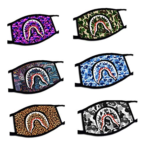 Tojoo 6 Pack Camo Shark Facemask Cute Funny Graphic Print Cotton Outdoor Face Cover