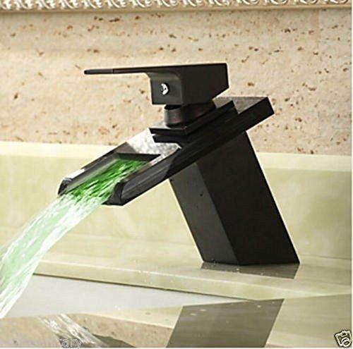 Grifo mezclador para lavabo, WATER TOWER moderno con cuerpo de llave de latón, cobre negro bronce lavabo, cascada, lavabo, lavabo, lavabo, lavabo, grifo de agua caliente y fría, control de temperatura en tres colores