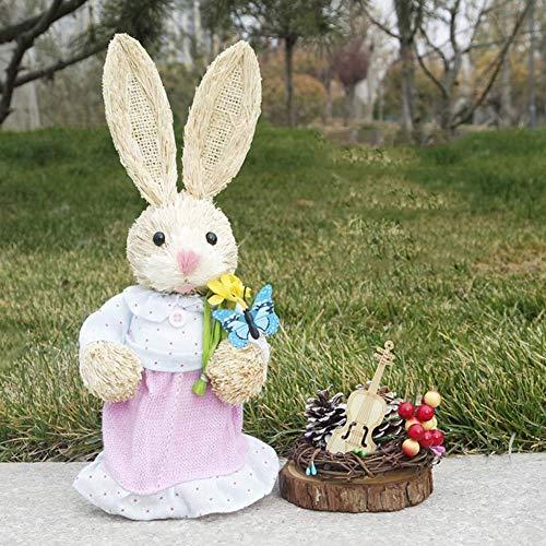LIUSHI Decoracin de Conejito de Pascua, Manualidades de Conejo de Paja, Decoraciones de jardn de casa, Accesorios para Fiestas navideas