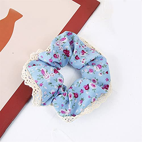 Anillo de pelo con flores dulces, para mujer, romántico, de encaje, color rosa y azul