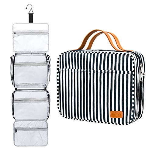 Kulturbeutel, zum Aufhängen, große Kapazität Reise Kulturtasche wasserdichte Kosmetiktasche Make-up-Organizer mit 4 Fächern und 1 Stabilen Haken für Damen/Herren Navy Blue & White Striped Large