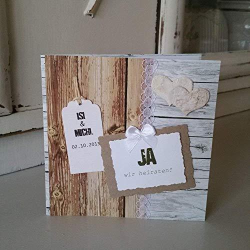 5 Stück Einladungskarte Hochzeit VINTAGE Holzoptik