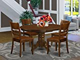5 Pc Kenley Dinette Table with a Leaf and 4 Wood Seat Chairs