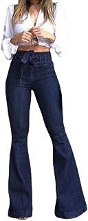 Damas De Jeans De Cintura Alta Pantalones Vaqueros Campanas Correa Moda Completi Ancha Pantalones De Pierna Otoño Moda Femenina Calle Easy Wear Jeans Pantalones
