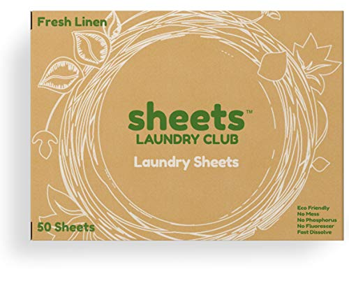 Laundry Detergent Sheets Plastic Free Fresh Linen Scent Larger Than A Strip Eco-Friendly Hypoallergenic Safe For Sensitive Skin Earth Friendly Easy To Use (50 Loads) Great On Workout Clothes