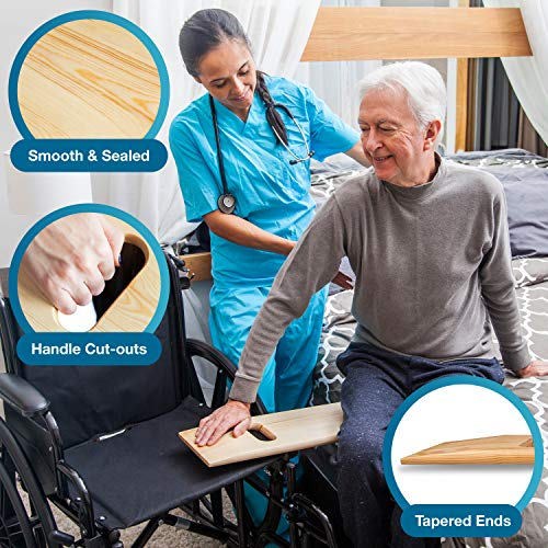 DMI Transfer Board Made of Heavy-Duty Wood for Patient, Senior and Handicap Move Assist and Slide Transfers, Holds up to 440 Pounds, 2 Cut out Handles, 30 x 8 x 1