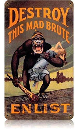 """Maizeco Vintage Destroy Kaiser Monkey Metal Signs Military 8"""" x 12"""" Inch Tin Sign Plaques Poster for Man Cave Pub Home Garage Bar Wall Decor"""