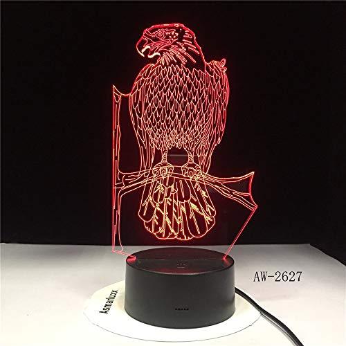 jiushixw 3D acryl nachtlampje met afstandsbediening van kleur veranderende lantaarn boom uil vogel baby kind tafellamp interessant
