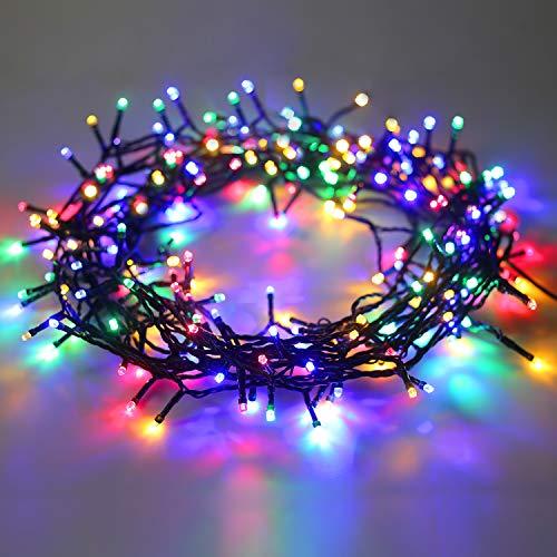 DecoKing 60er LED Lichterkette Timer bunt mehrfarbig statisch strombetrieben Innen und Außen Gartendeko