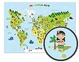 ARTBAY El mapamundi para niños - XXL Póster - 118,8 x 84 cm - Mapa del mundo para niños con...
